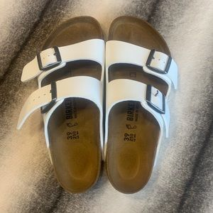 { Birkenstock } Arizona White Birko Flor Sandals